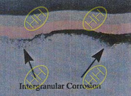 What is intergranular corrosion in metal material?