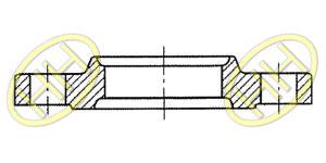 JIS B2220 Slip On Hubbed Flange Type B Drawing