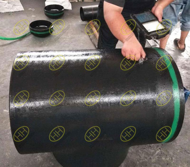 Ultrasonic testing for butt welding equal tee